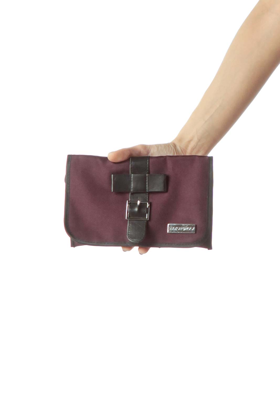 Purple Black Leather & Canvas Pouch