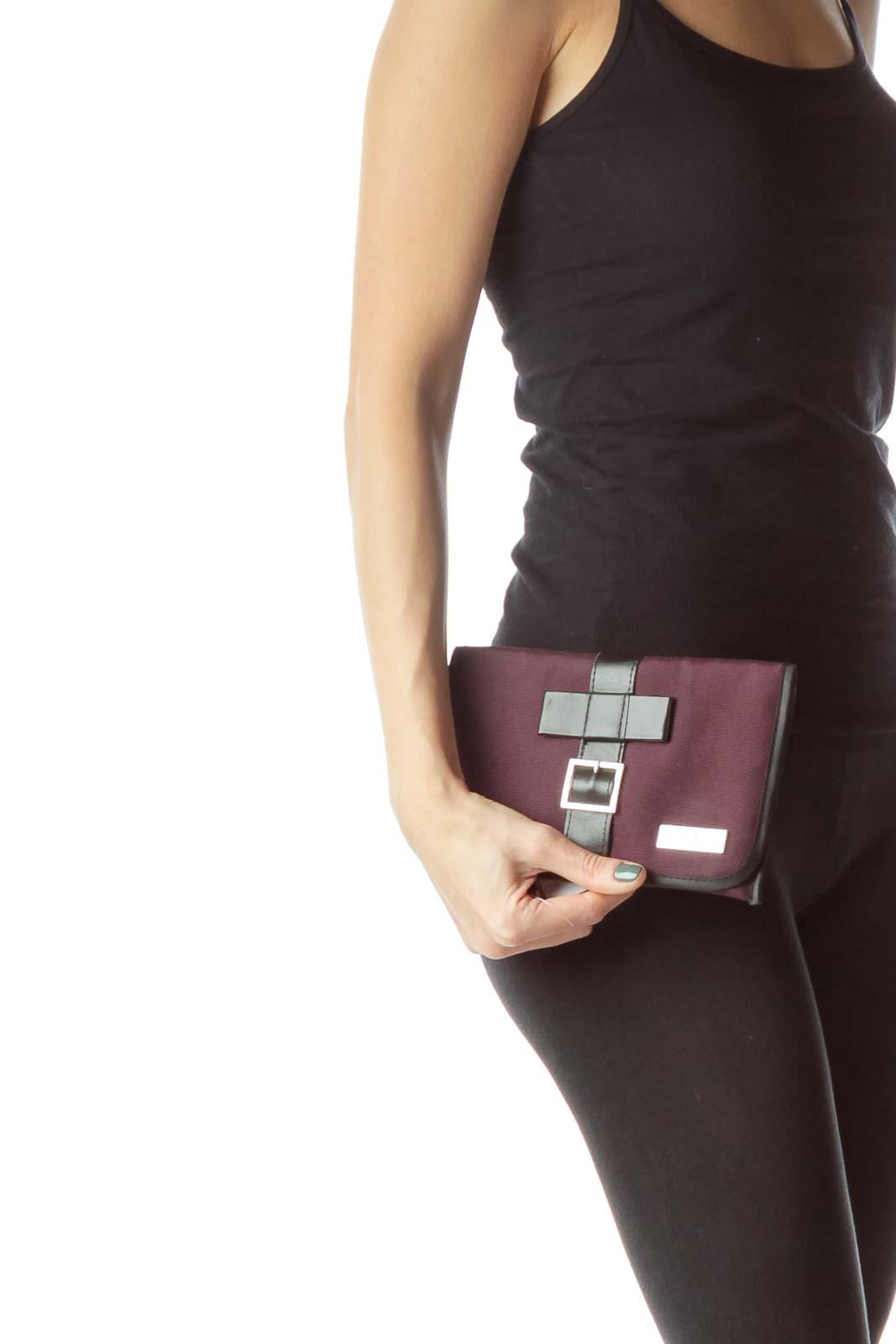 Purple Black Leather & Canvas Pouch