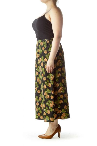 Black Printed Midi Skirt
