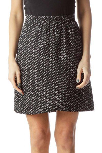 Black Printed Mini Skirt