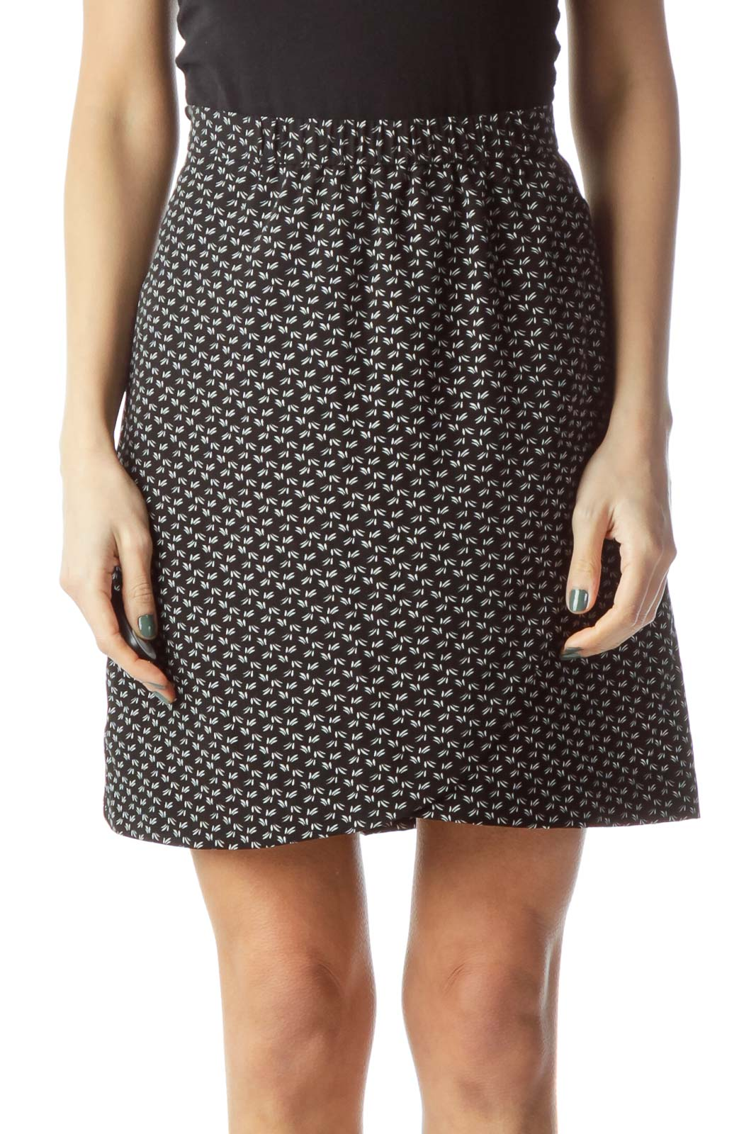 Black Printed Mini Skirt