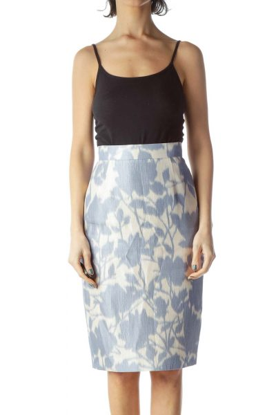 Blue Print Silk Pencil Skirt ... 31128b4736