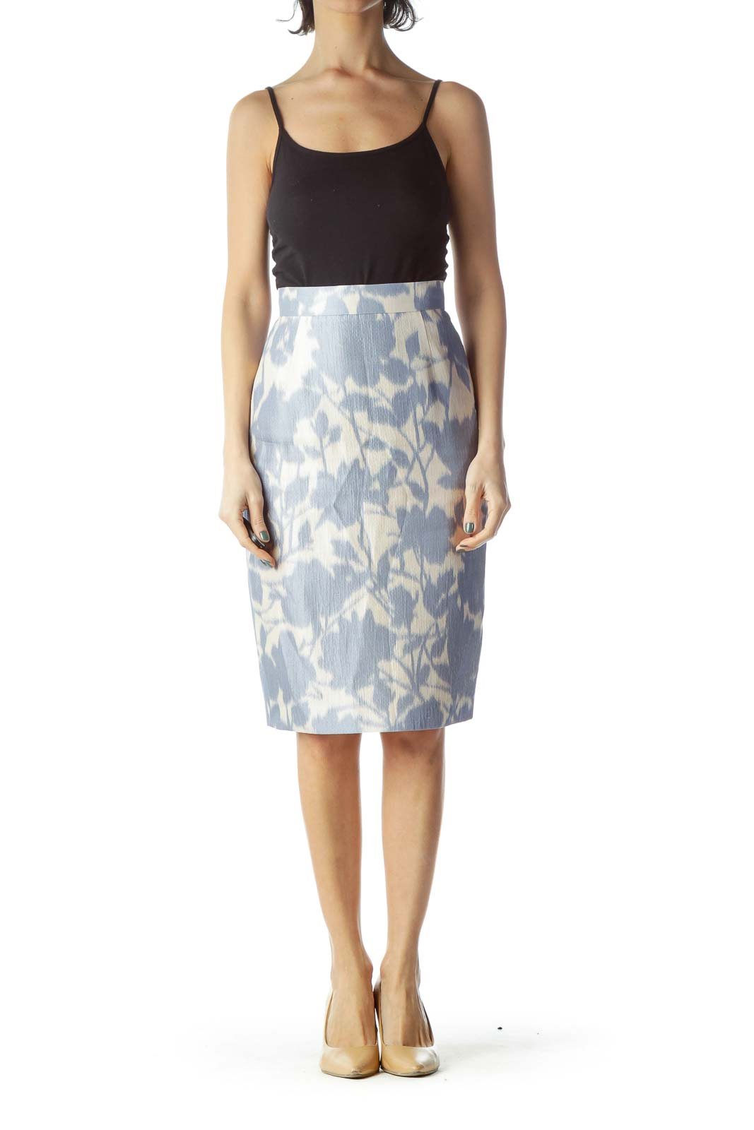 Blue Print Silk Pencil Skirt