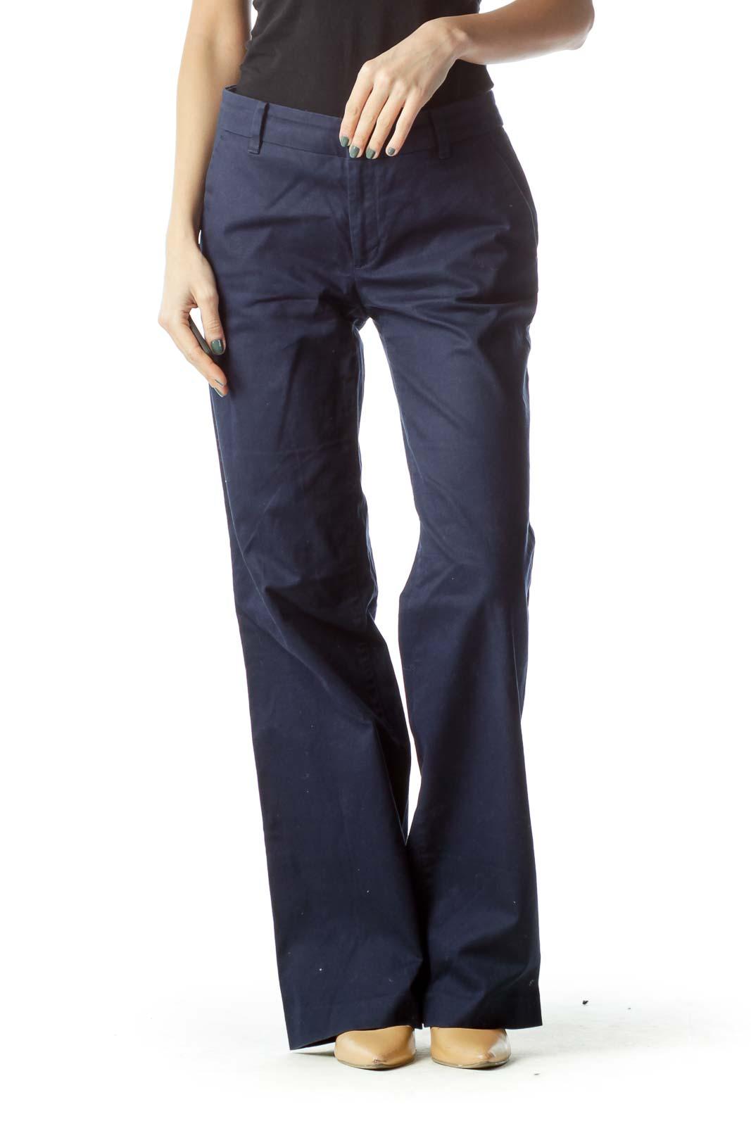Navy Wide Leg Cotton Pants