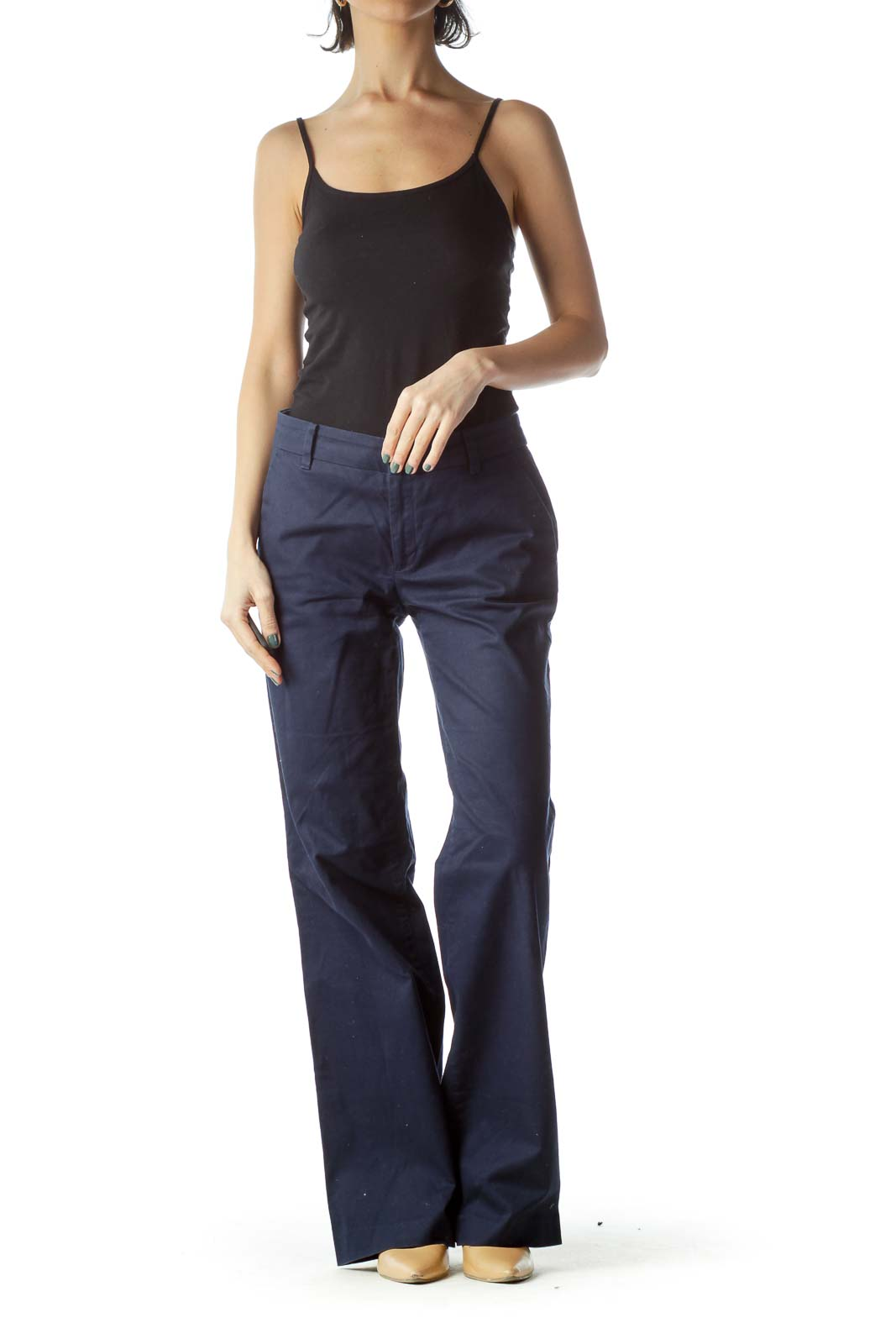 Navy Wide Leg Cotton Pants