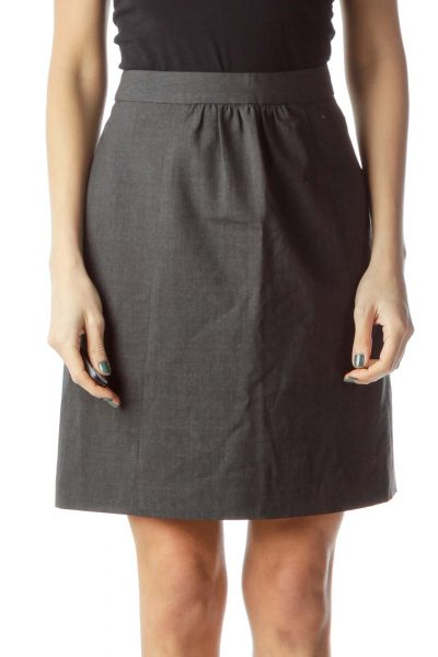 3c5048affd Gray Wool Pleated Skirt ...