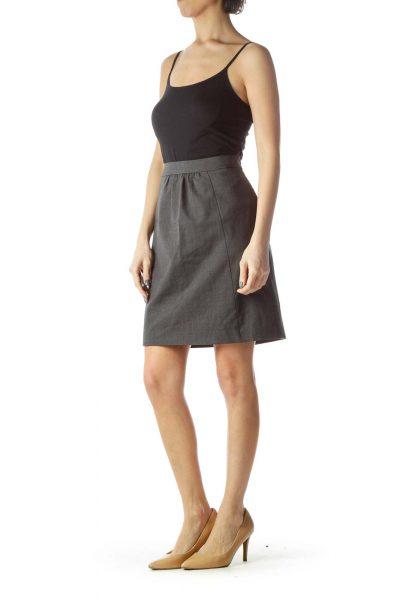 Gray Wool Pleated Skirt
