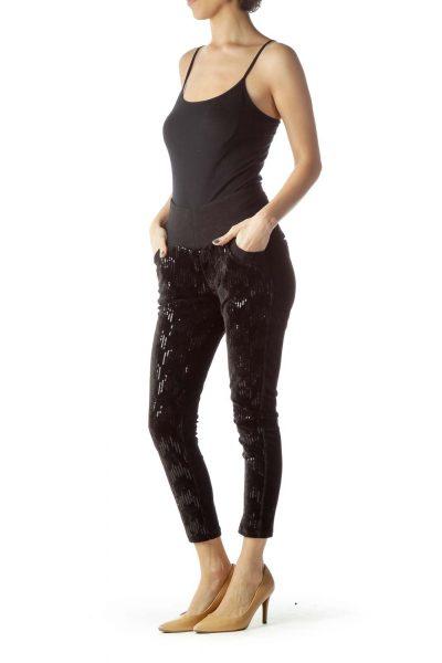Black Velvet Sequin Leggings