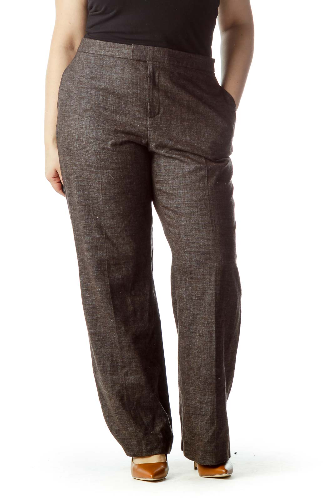 Brown Wide Leg Wool Pants