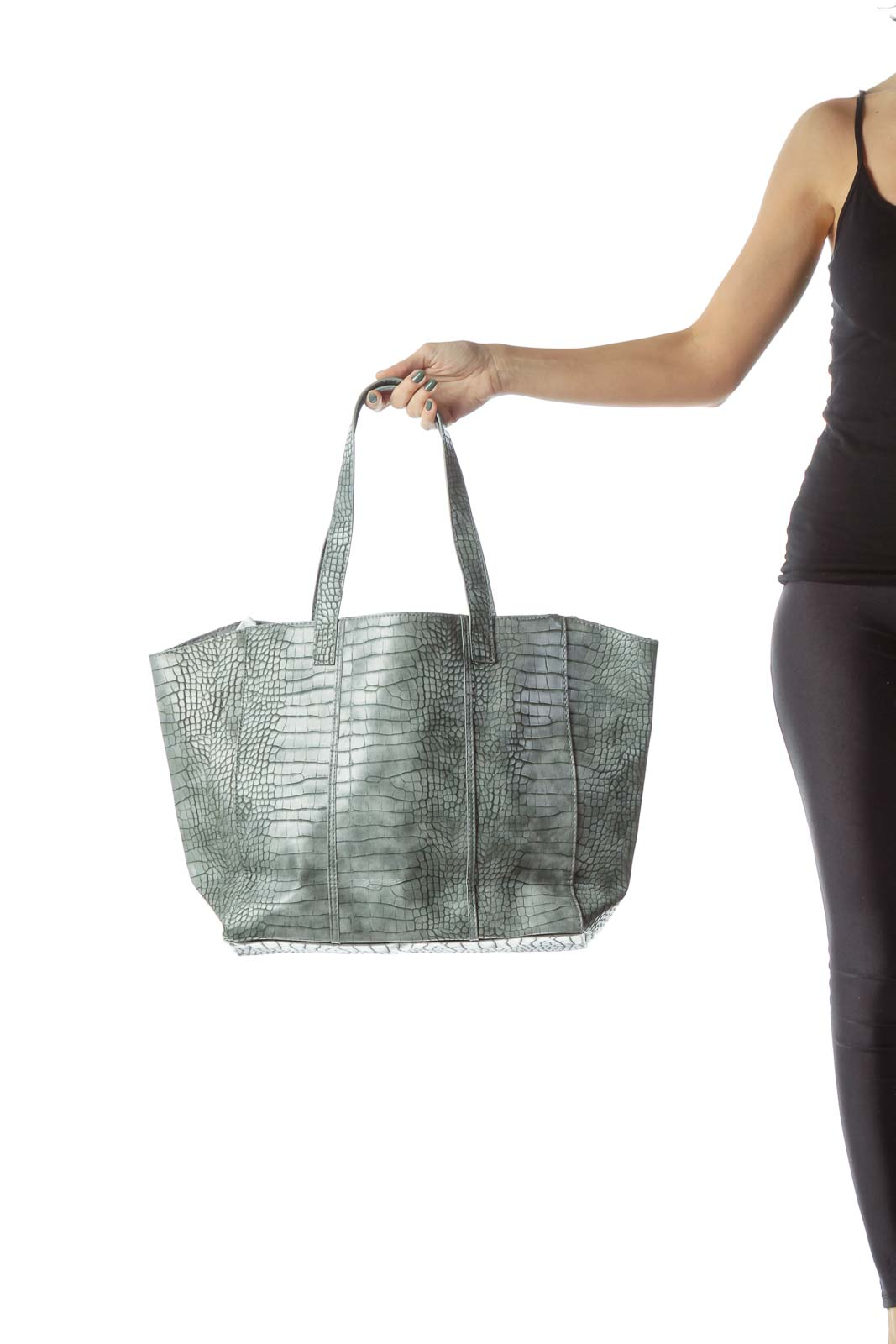 Gray Snake Skin Faux Leather Tote
