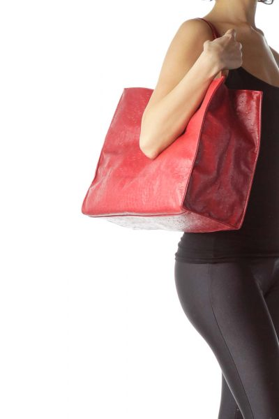 Red Vegan Ostrich Leather Tote