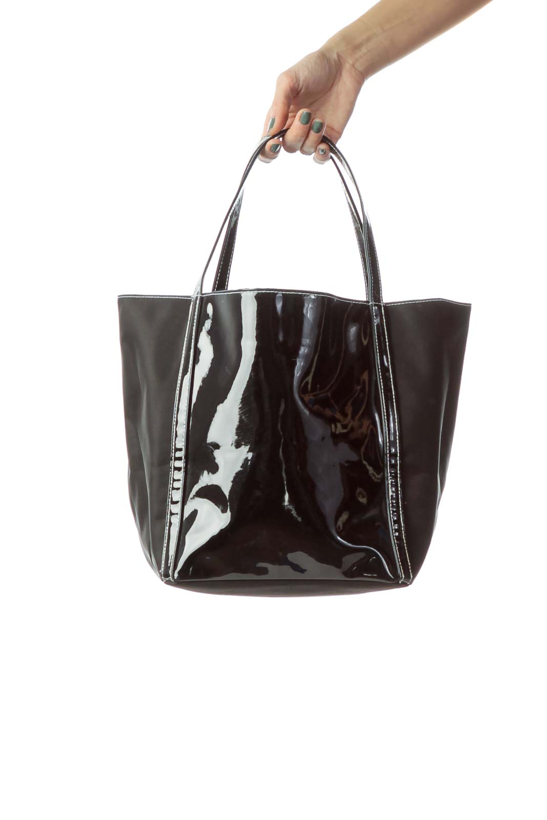 Black Patent Leather & Nylon Tote