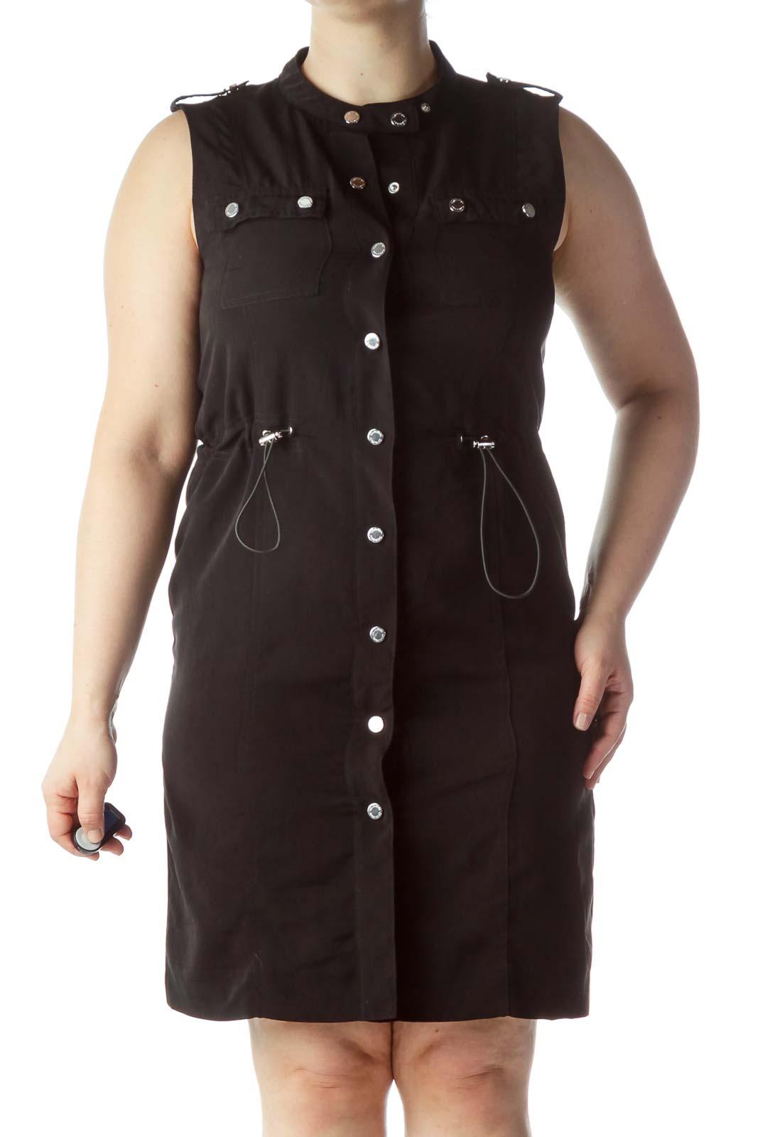 Black Snap Buttoned Sleeveless Dress