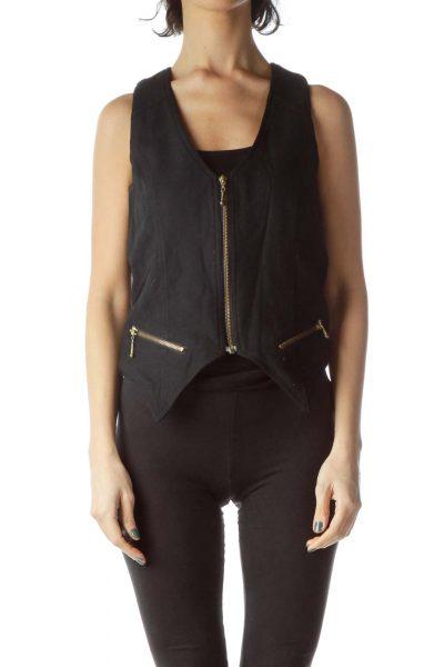 Black Zippered 100% Wool Vest
