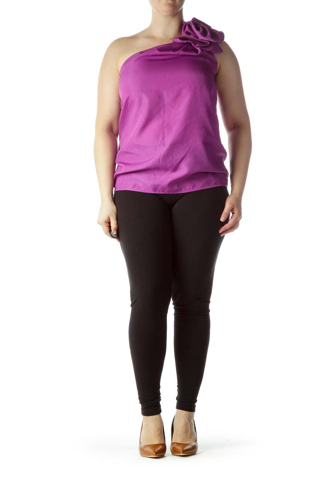 Purple One-Shoulder Flower Shift Blouse