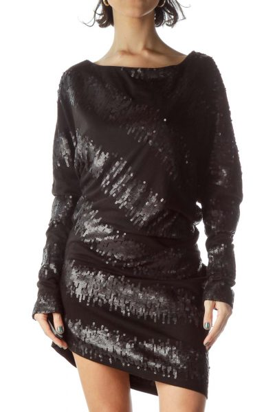 Black Bat Sleeve Sequin Dress