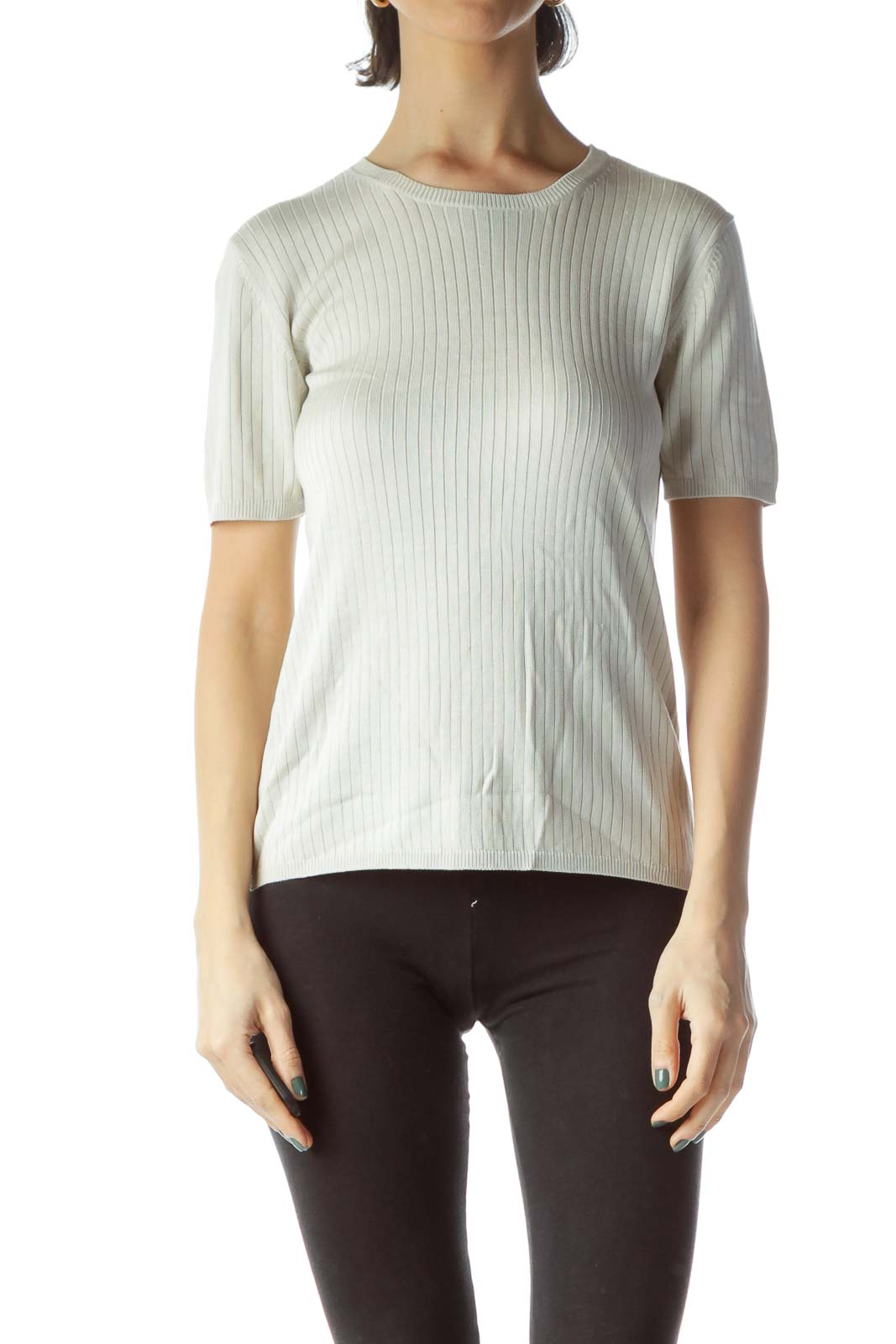 Light Gray 100% Silk Stretch Knit Top