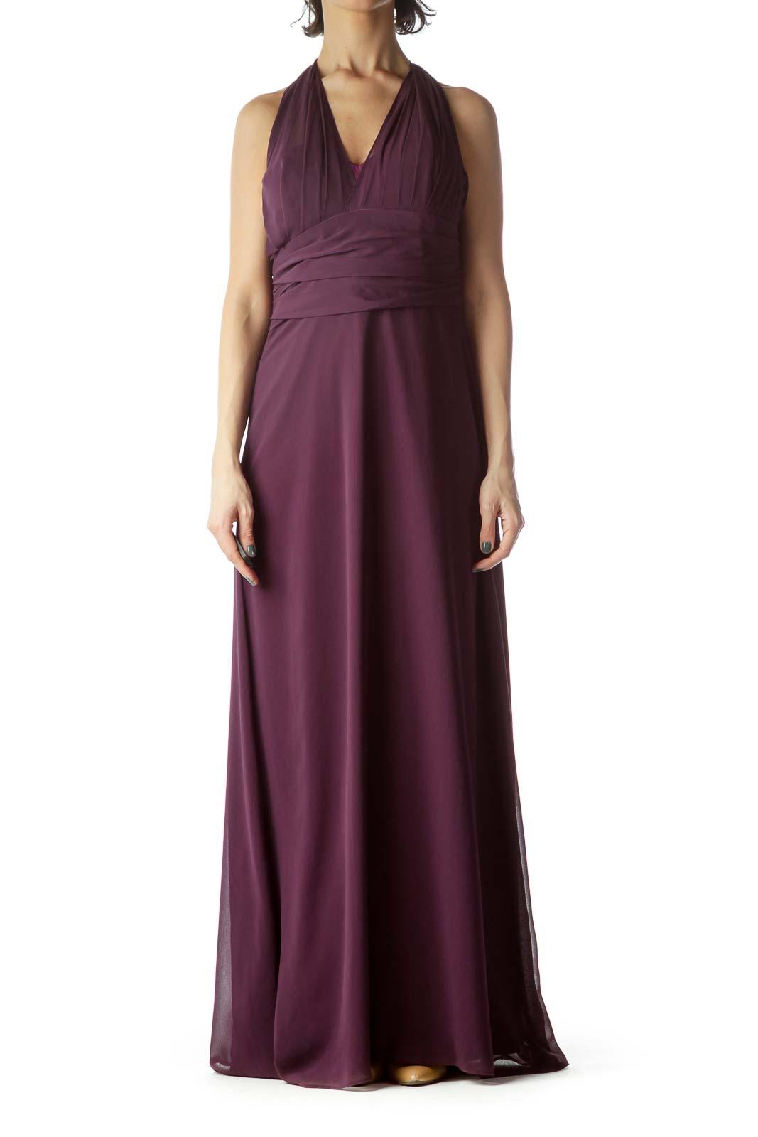 Violet V-Neck Halter Long Evening Dress