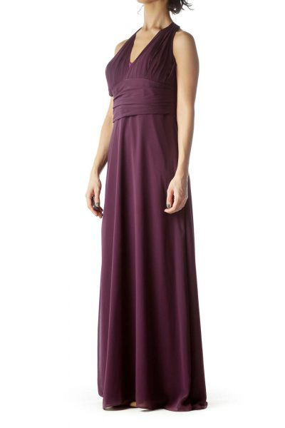 Violet V-Neck Halter Long Evening Dress