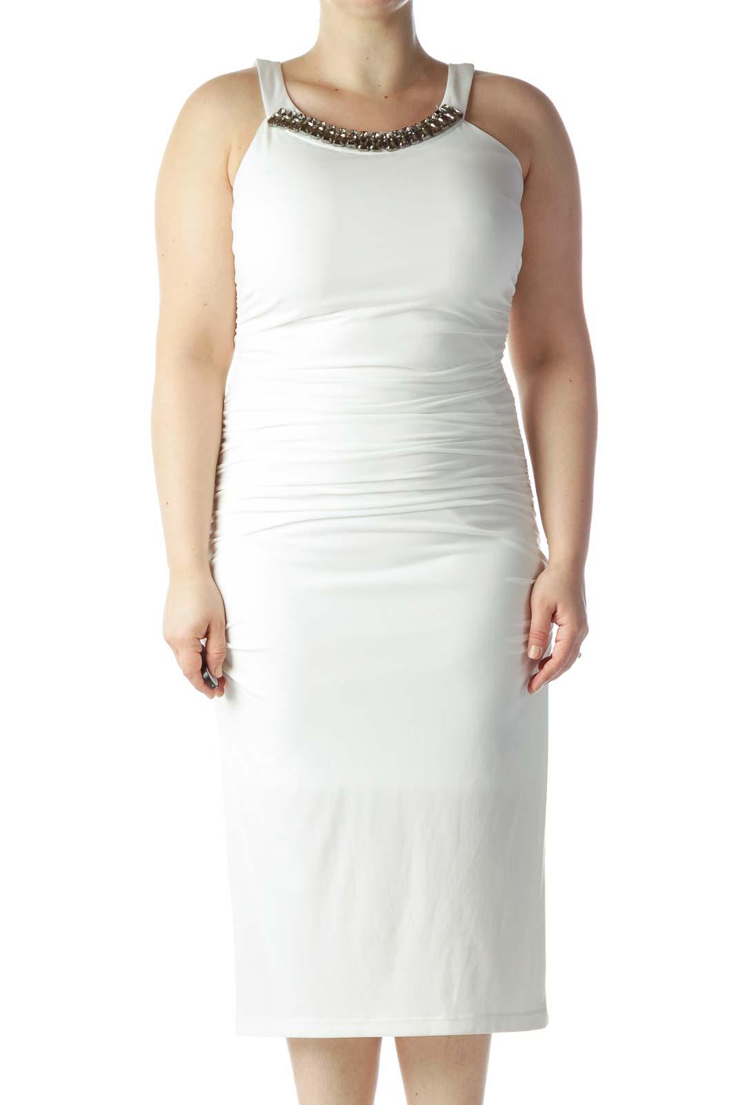 Off-White Embellished Neckline Scrunched Long Dress