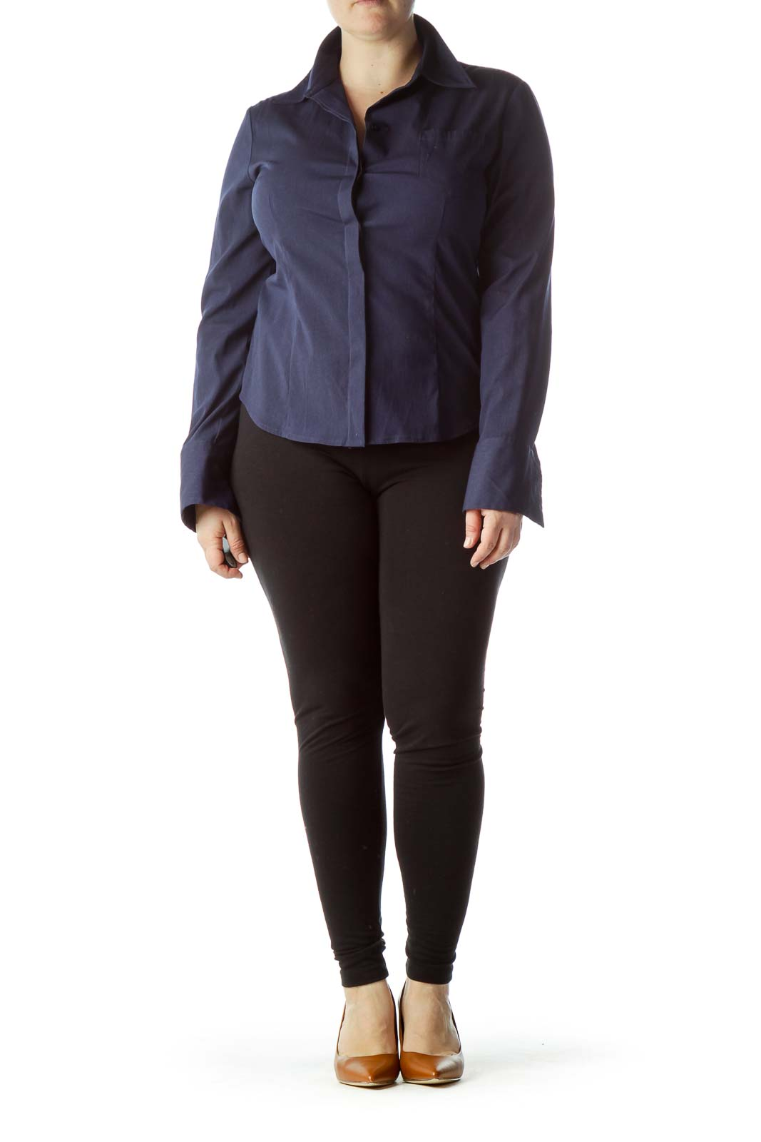 Navy Blue Pocketed Long Sleeve Shirt