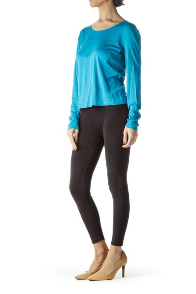 Teal Blue Cotton and Silk Long Sleeve Top