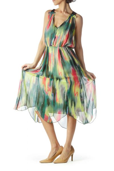 Multicolored V-Neck Buttoned Flared Dress