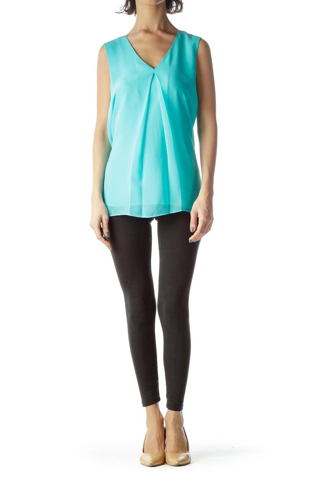 Mint Green V-Neck Sleeveless Shift Blouse