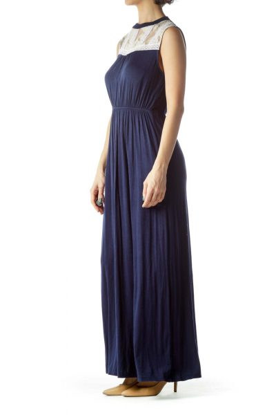 Navy Blue Cream Lace Jersey-Knit Maxi Dress