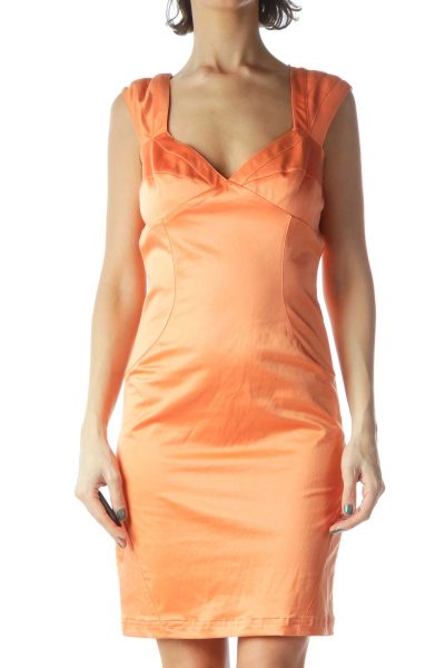 Orange V-Neck Sleeveless Slim Dress