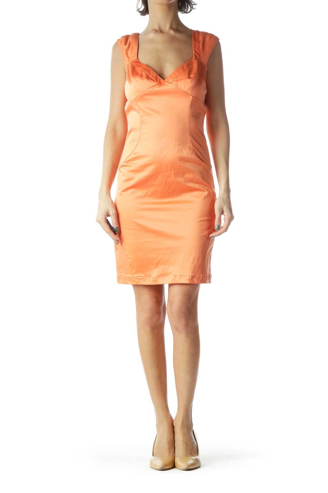 Orange V-Neck Sleeveless Slim Dress