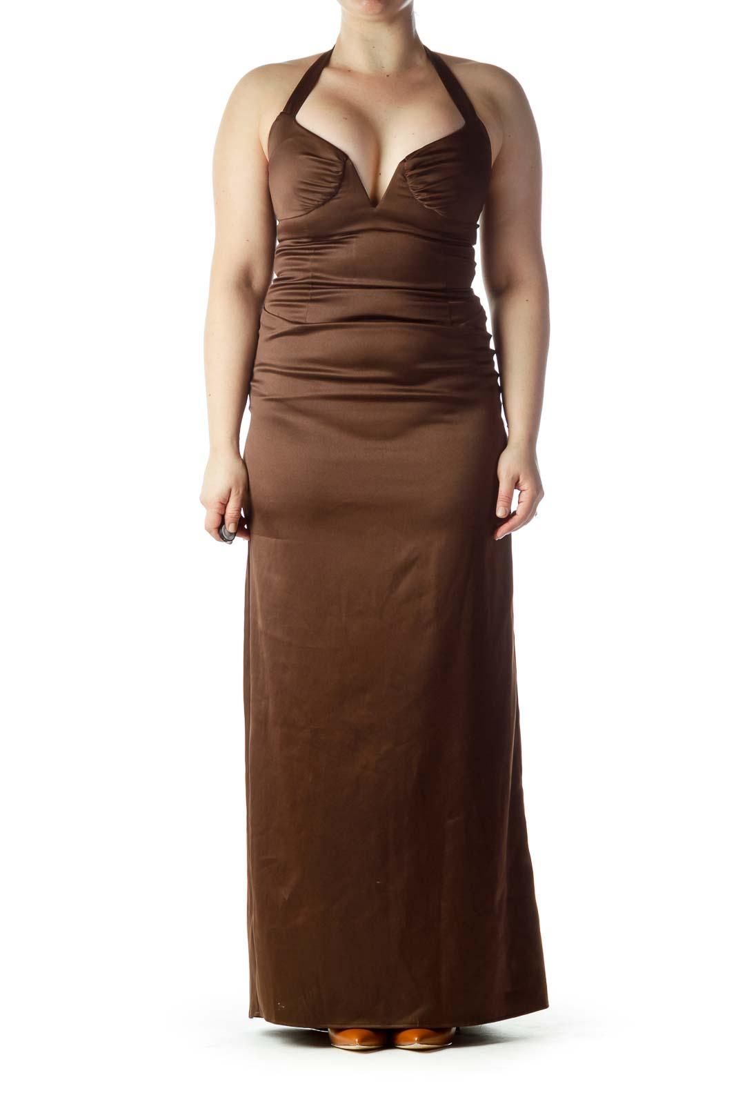 Brown Sweetheart Neck Halter Evening Dress