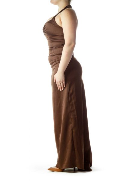 Brown Sweetheart Neck Halter Evening Dress