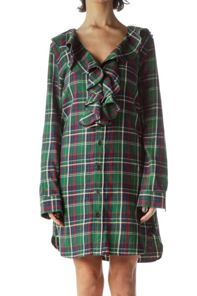 Green Red Blue Plaid 100% Cotton Knit Dress
