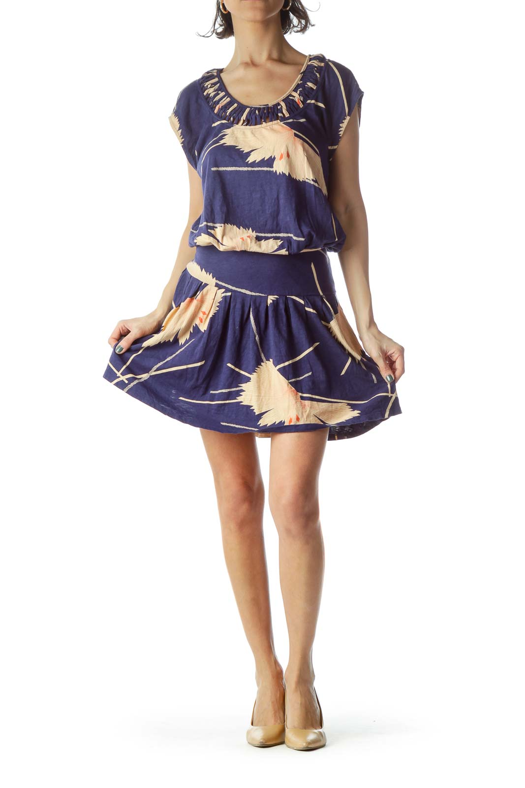 Navy Blue Light Peach Floral Print Day Dress