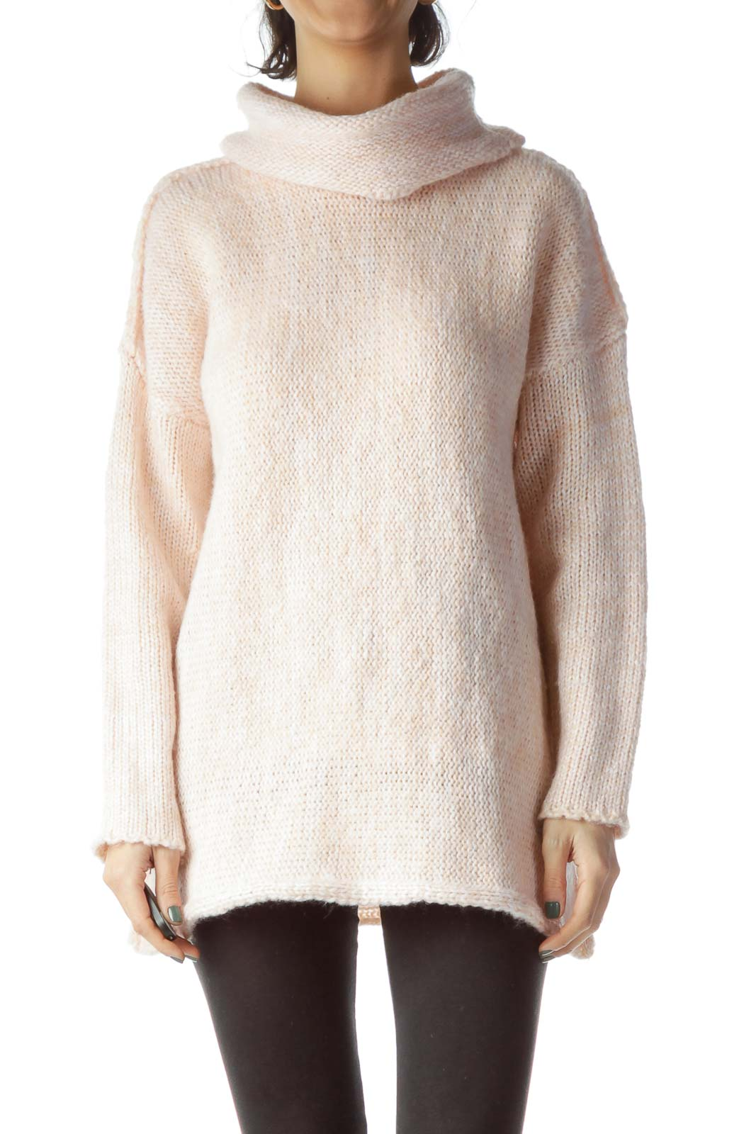 Light Salmon Color Turtle Neck Long Sweater