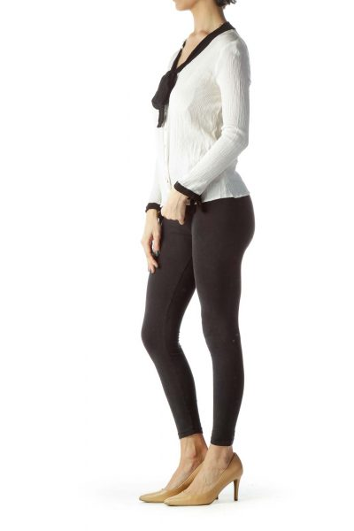 Cream Black Bows Buttoned Long Sleeve Top