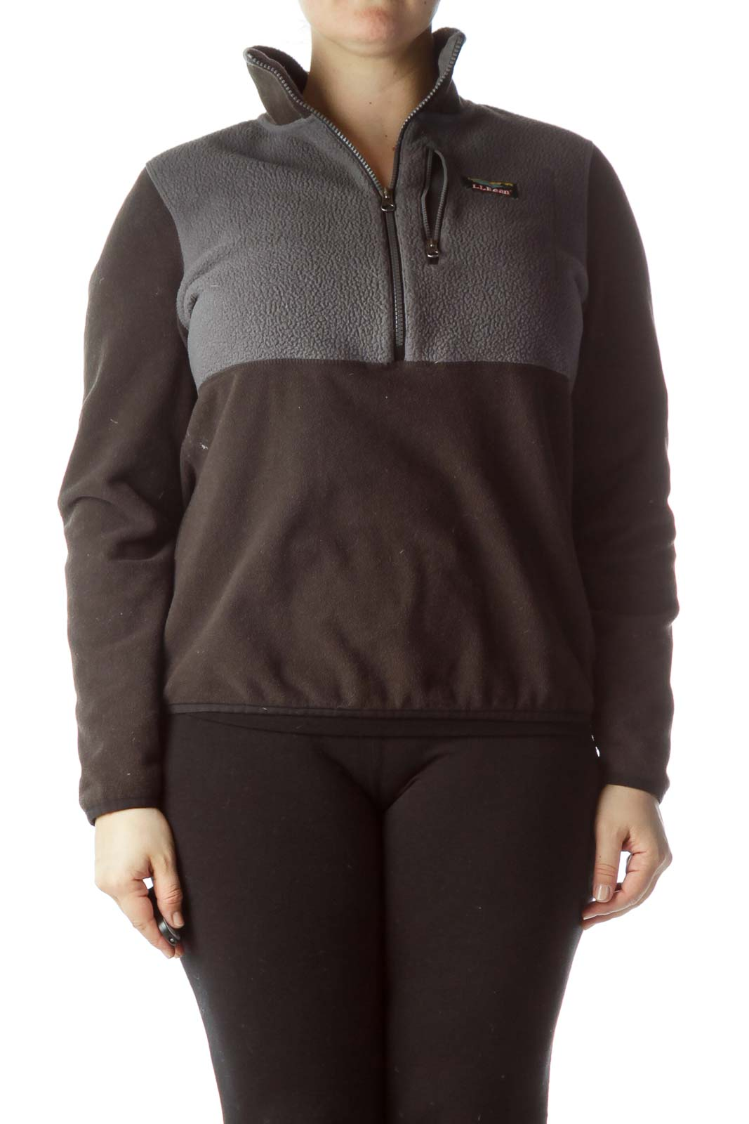 Gray Black Zippered Fitted Fleece Jacket