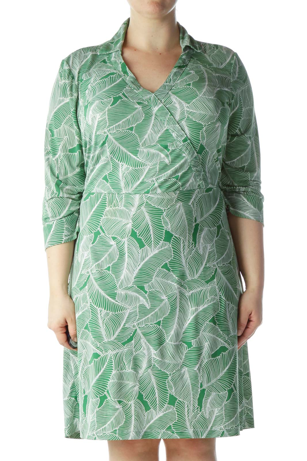Green White Leaves Print Belted Day Dress