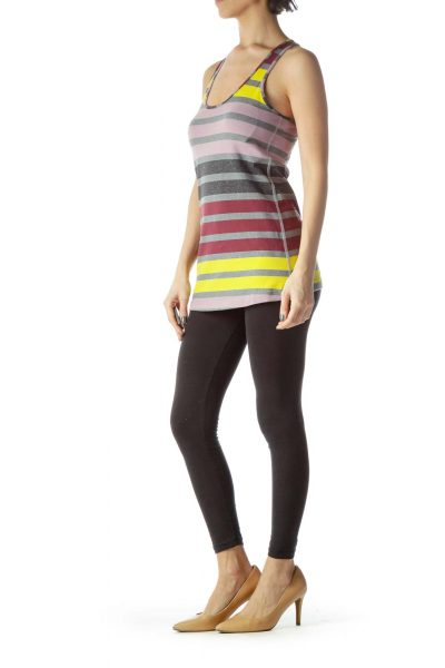 Multicolored Striped Racerback Sports Top
