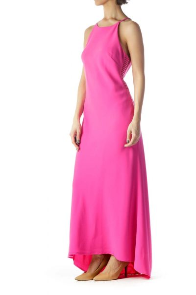 Magenta Pink Halter Neckline Long Dress