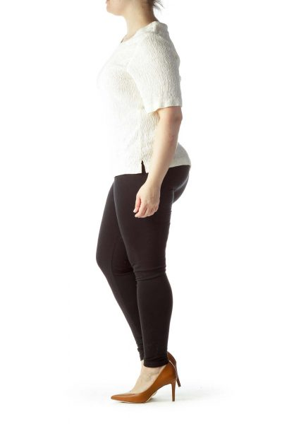 Cream Textured Knit Stretch Top