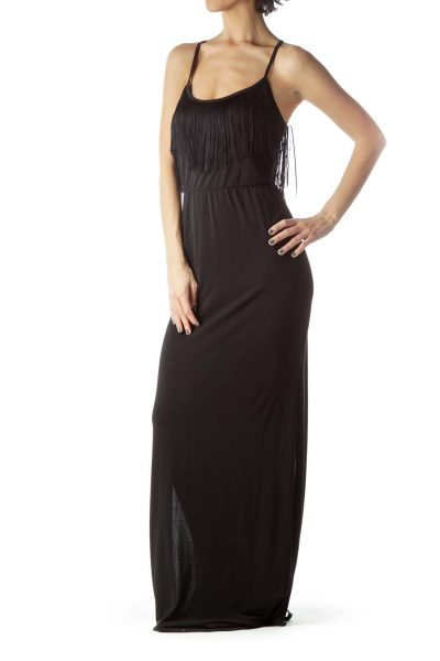 Black Halter Neckline Empire Waist Maxi Dress