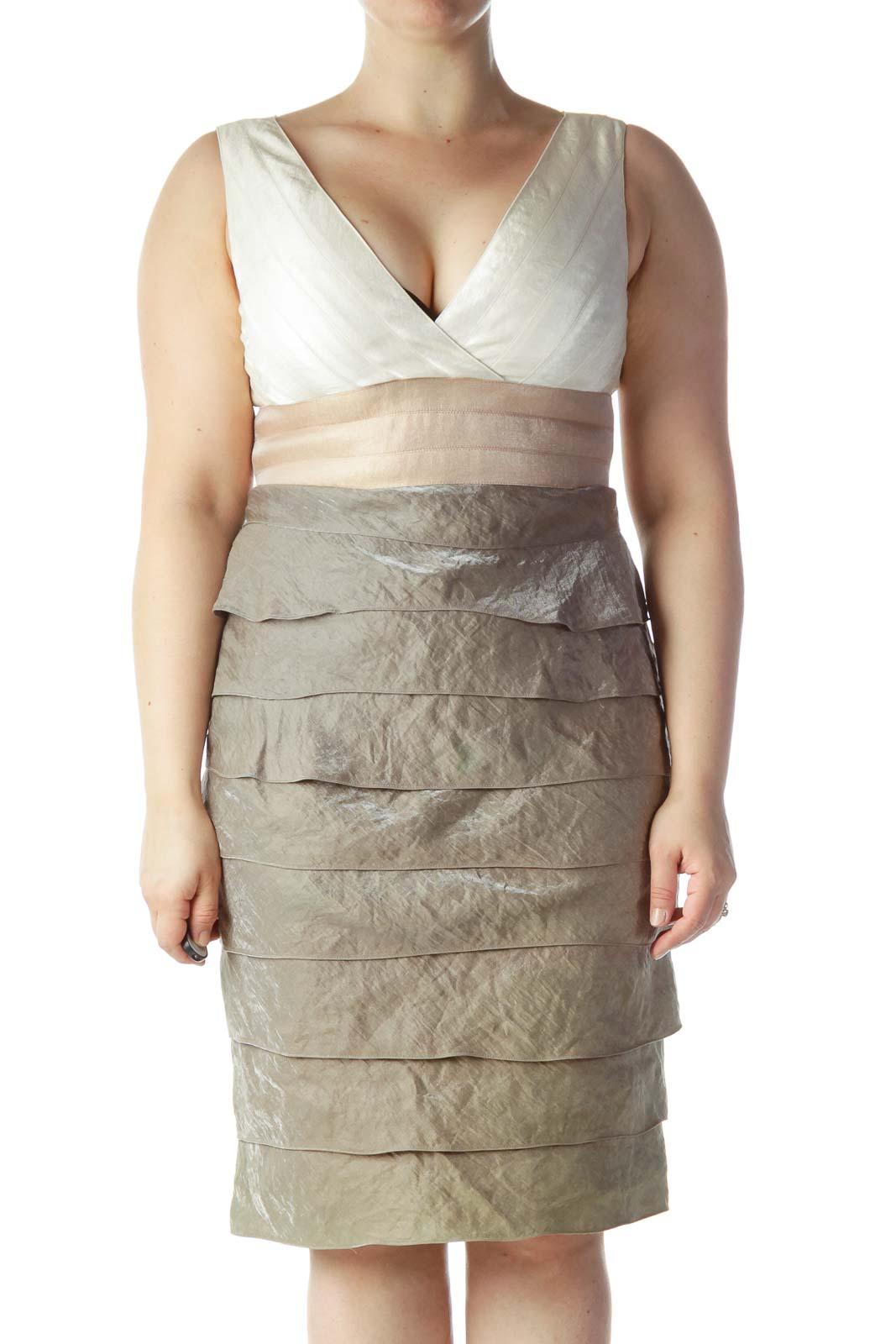 Beige Cream Gray Ruffled Cocktail Dress