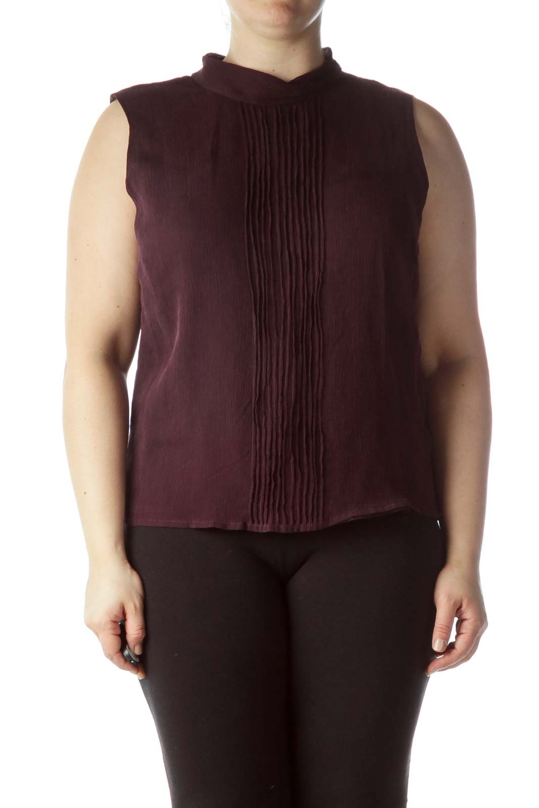 Purple Front Pleats 100%  Silk Sleeveless Top