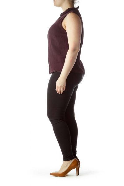 Purple Front Pleats 100%  Silk Sleeveless Top