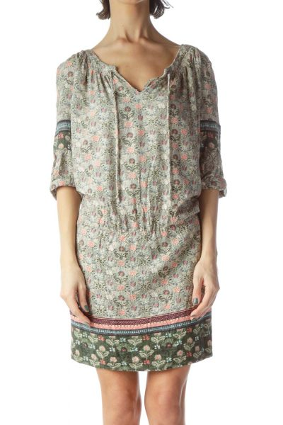 Multicolored Floral Print 3/4 Sleeve Day Dress