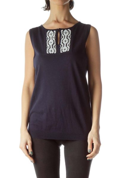Navy Blue White Neck Embellishment Knit Vest