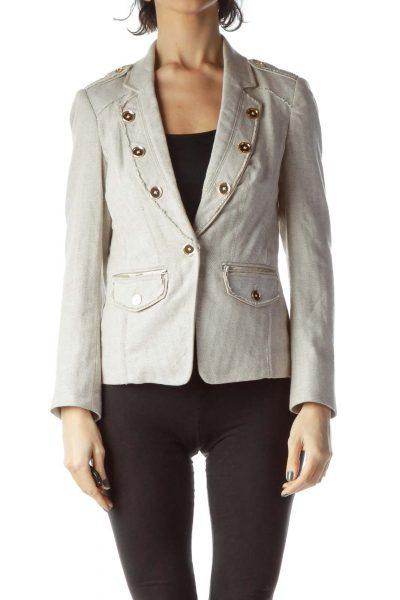 Beige Cream Metal Rose Gold Buttons Blazer