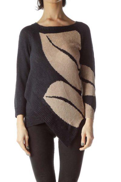 Navy Blue Beige Long Sleeve Knit Sweater
